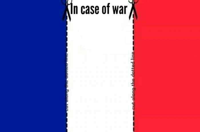 pic of the French flag with dotted line marking where to cut it so it become a white flag