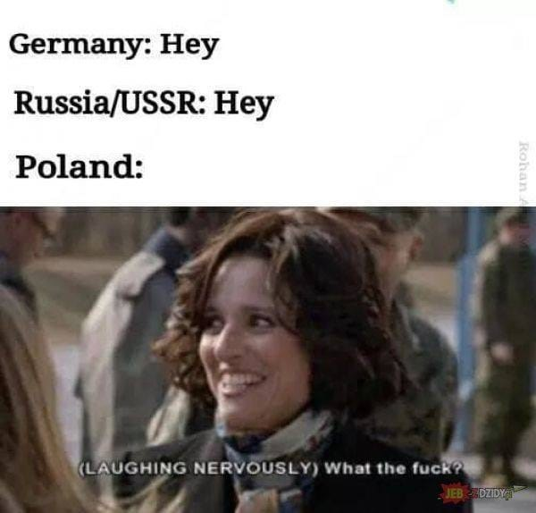 """meme about Poland during WWII with scene from Veep of Selina saying """"what the fuck"""""""
