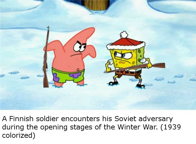 fake history photograph of Spongebob and Patrick as soldiers during WWII