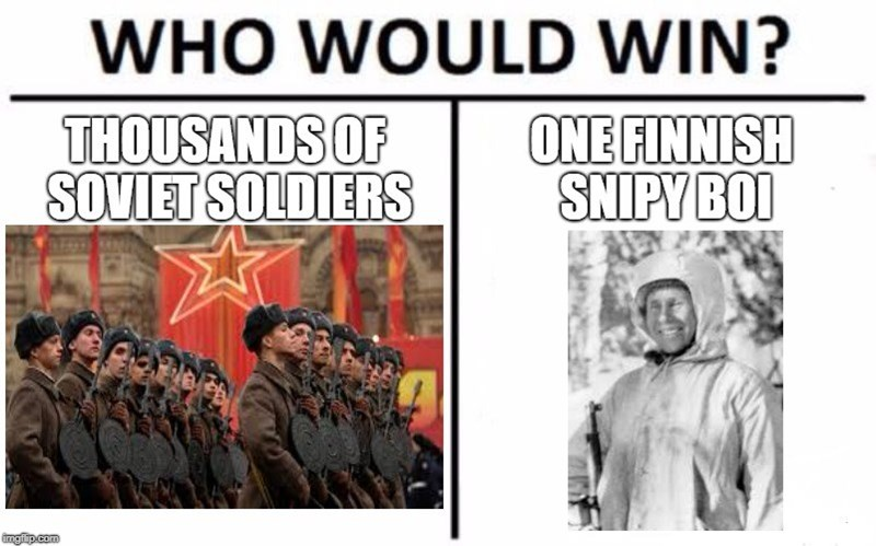"""""""who would win"""" meme about Simo the Finnish sniper beating a USSR unit"""