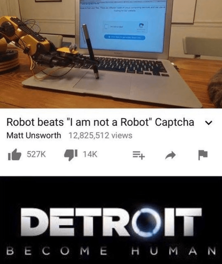 Funny meme about robot tricking captcha.