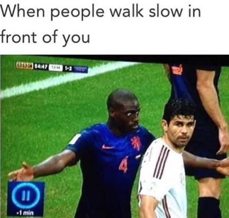 Funny meme about slow walkers.