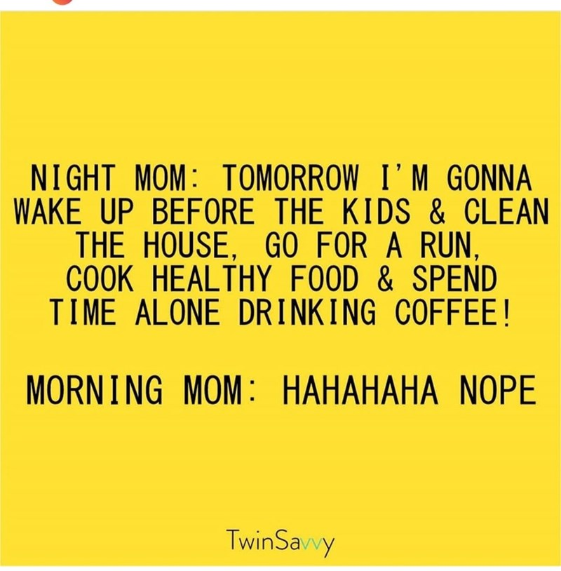 Text - NIGHT MOM: TOMORROW I'M GONNA WAKE UP BEFORE THE KIDS & CLEAN THE HOUSE, GO FOR A RUN COOK HEALTHY FOOD & SPEND TIME ALONE DRINKING COFFEE! MORNING MOM: HAHAHAHA NOPE TwinSavvy