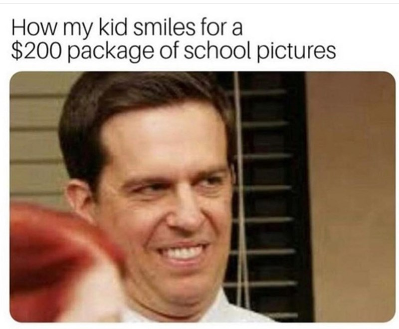 Face - How my kid smiles for a $200 package of school pictures