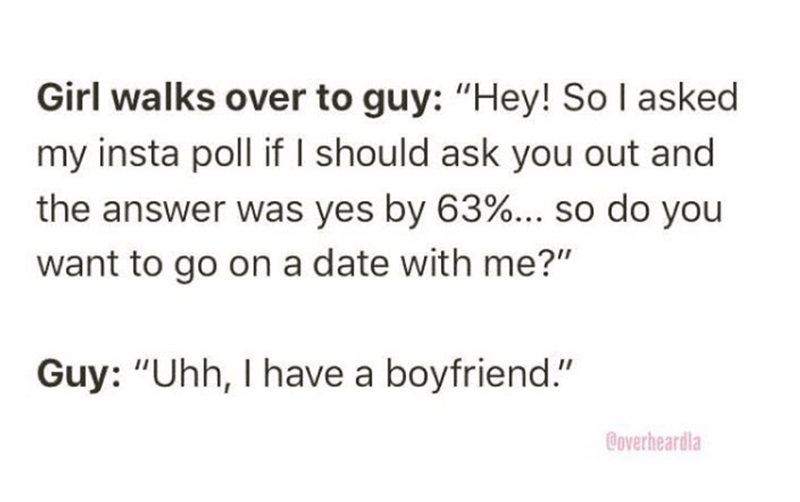 """Overheard - Text - Girl walks over to guy: """"Hey! So I asked my insta poll if I should ask you out and the answer was yes by 63%... so do you want to go on a date with me?"""" Guy: """"Uhh, I have a boyfriend."""" Coverheardla"""