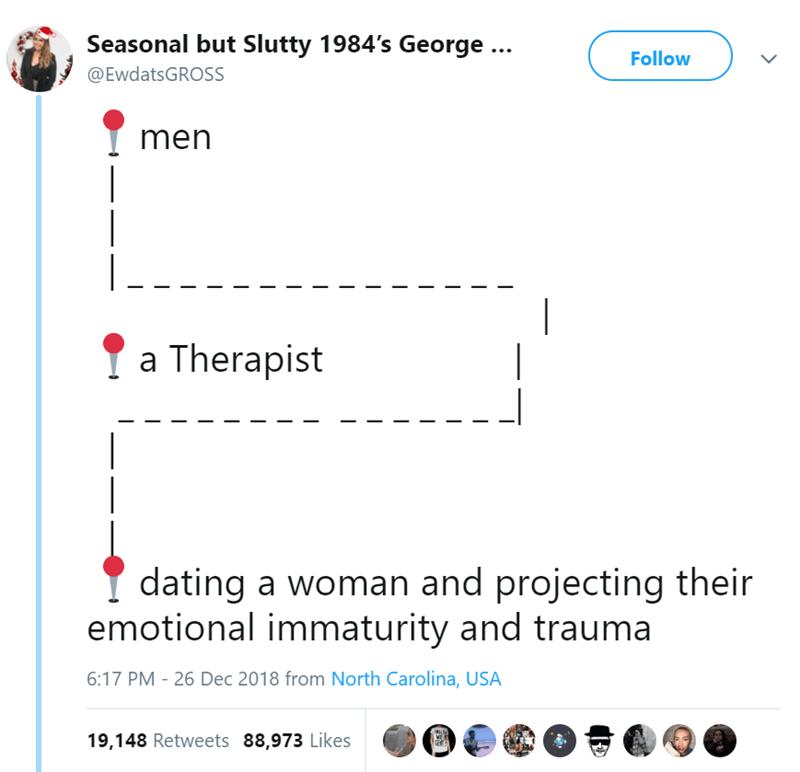 Text - Seasonal but Slutty 1984's George ... Follow @EwdatsGROSS men Ya Therapist dating a woman and projecting their emotional immaturity and trauma 6:17 PM 26 Dec 2018 from North Carolina, USA 19,148 Retweets 88,973 Likes