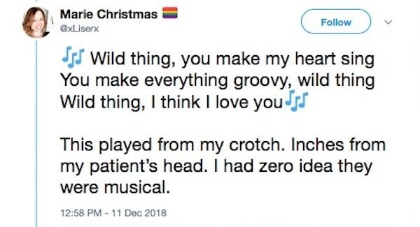 Text - Marie Christmas Follow @xLiserx SWild thing, you make my heart sing You make everything groovy, wild thing Wild thing, I think I love you This played from my crotch. Inches from my patient's head. I had zero idea they were musical 12:58 PM -11 Dec 2018