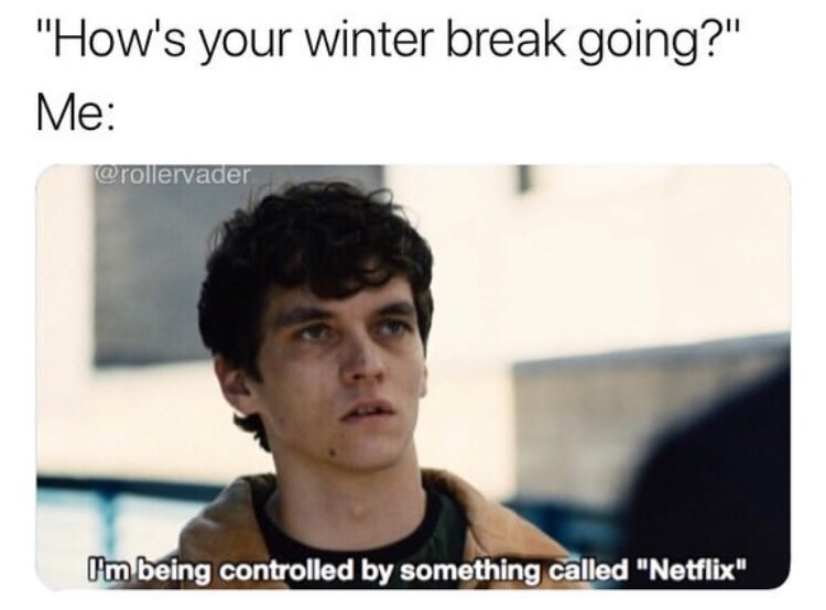 """black mirror meme - Text - """"How's your winter break going?"""" Me: @rollervader Im being controlled by something called """"Netfix"""""""