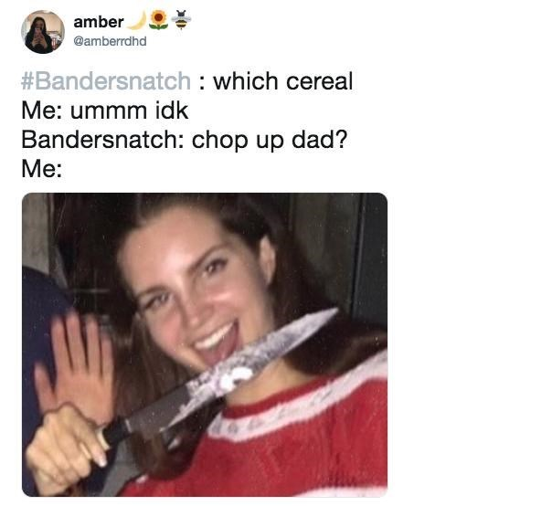 black mirror meme - Text - amber @amberrdhd #Bandersnatch : which cereal Me: ummm idk Bandersnatch: chop up dad? Me: