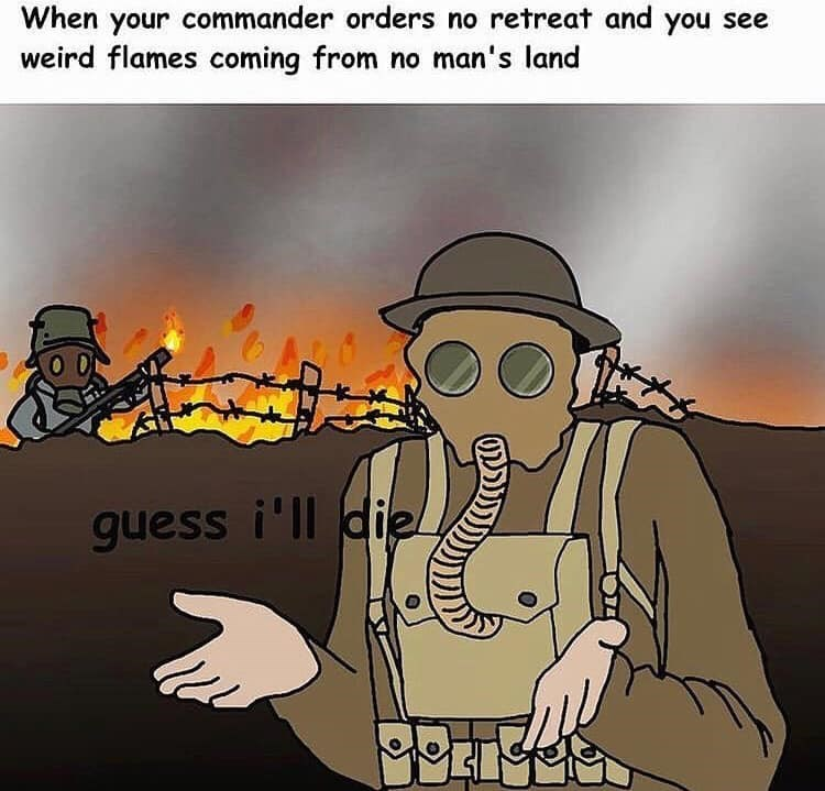 history meme - Cartoon - When your commander orders no retreat and you see weird flames coming from no man's land guess i'll die