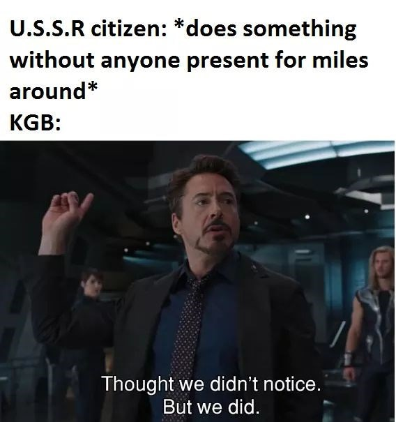 history meme - Photo caption - U.S.S.R citizen: *does something without anyone present for miles around* KGB: Thought we didn't notice. But we did.