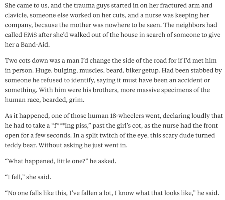biker in the ER sees the little girl injured and asks what happened