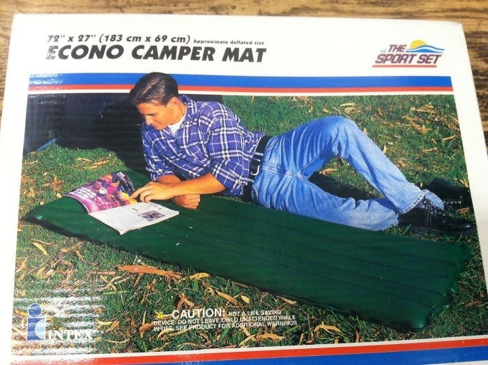 """Grass - 72"""" x 27"""" (183 cm x 69 cm) Approximate deflated sise ECONO CAMPER MAT THE SPORT SET CAUTION NOTAUFE SeNGr DEVICE DO NOT LEAVE CHILD UNATTENDEOWHILE IN EE SEE prODUCT FOR ADITIONALWARNINGS"""