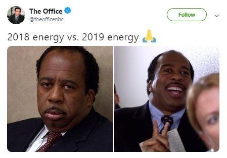 Technology - The Office Follow @theofficenbc 2018 energy vs. 2019 energya