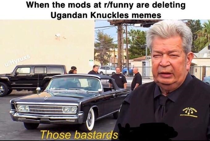 """Caption that reads, """"When the mods at r/funny are deleting Ugandan Knuckles memes"""" above a still of 'Old Man' saying, """"Those bastards"""""""