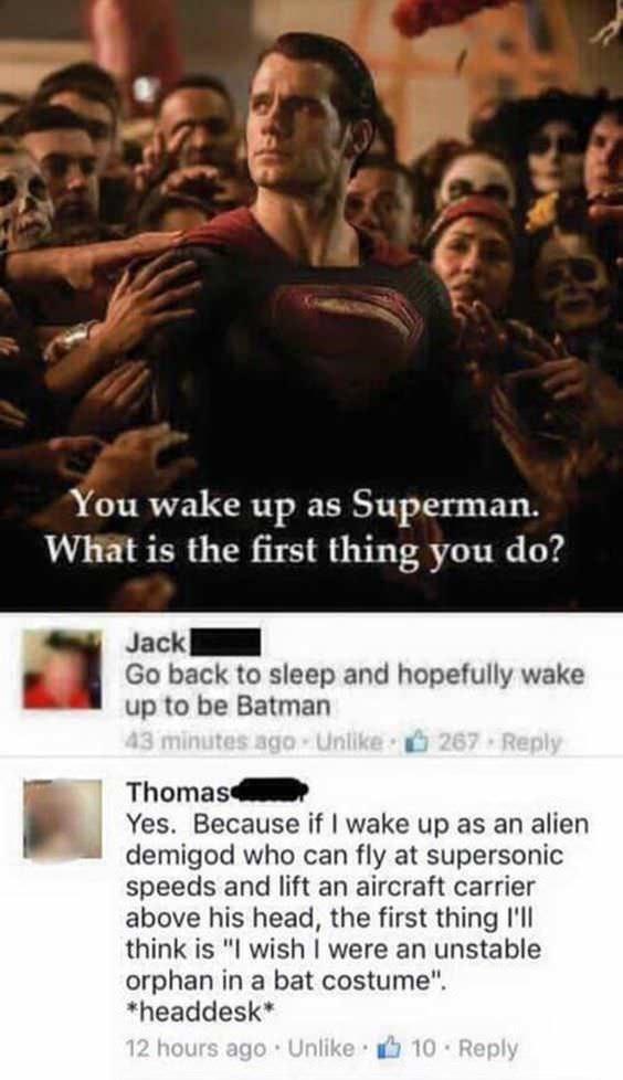 Meme explaining why Superman is better than Batman