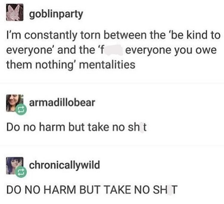 Tumblr thread about finding a balanced mentality