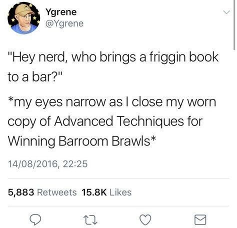 Tweet about reading a book about brawling in a bar