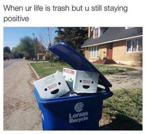 """Caption that reads, """"When your life is trash but you still staying positive"""" above a pic of a trash can with happy-looking boxes in it"""