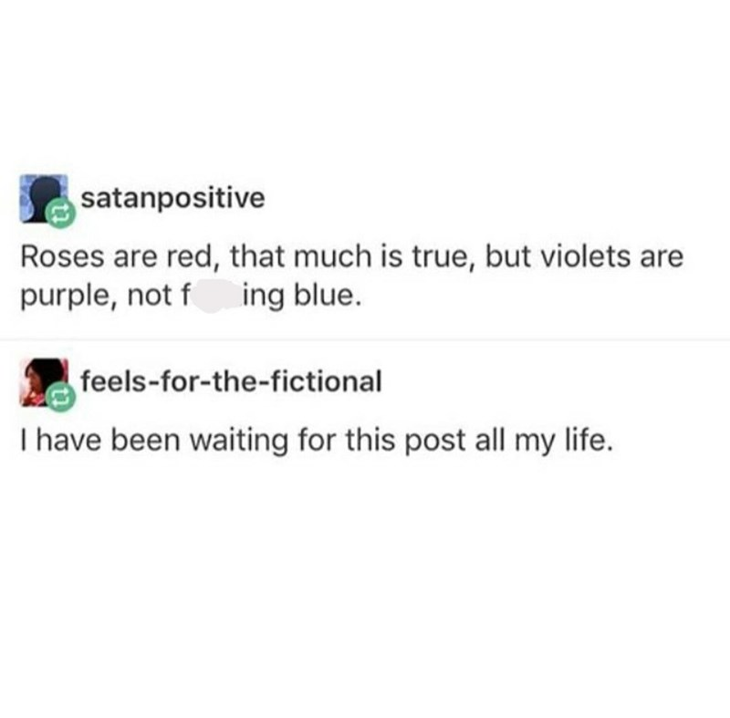 Tumblr post pointing out violets aren't blue