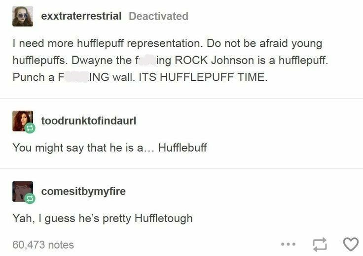 Tumblr thread about Dwayne Johnson being a Hufflepuff