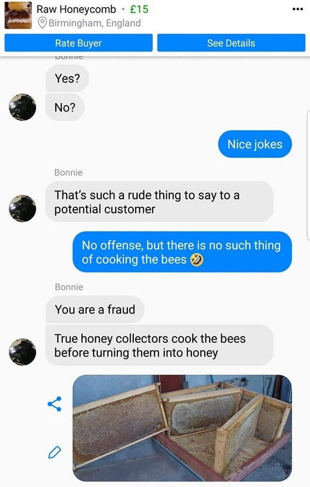woman claims that a true honey collectors cook their bees and calls the company a fraud