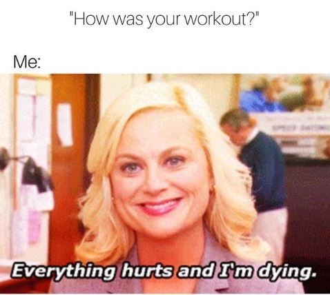 "Caption that reads, ""'How was your workout?' Me: ..."" above a still of Amy Poehler saying, ""Everything hurts and I'm dying"""