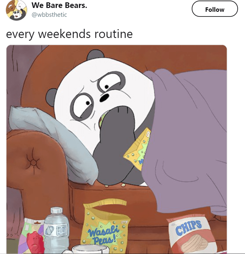 Cartoon - We Bare Bears. @wbbsthetic Follow every weekends routine Wasali Peas! CHIPS