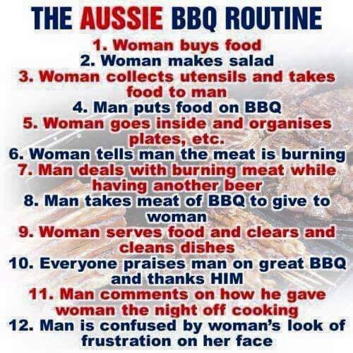 Text - THE AUSSIE BBQ ROUTINE 1. Woman buys food 2. Woman makes salad 3. Woman collects utensils and takes food to man 4. Man puts food on BBQ 5. Woman goes inside and organises plates, etc. 6. Woman tells man the meat is burning 7. Man deals with burning meat while having another beer 8. Man takes meat of BBQ to give to woman 9. Woman serves food and clears and cleans dishes 10. Everyone praises man on great BBQ and thanks HIM 11. Man comments on how he gave woman the night off cooking 12. Man