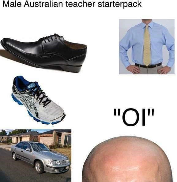 "Footwear - Male Australian teacher starterpack ""OI"""
