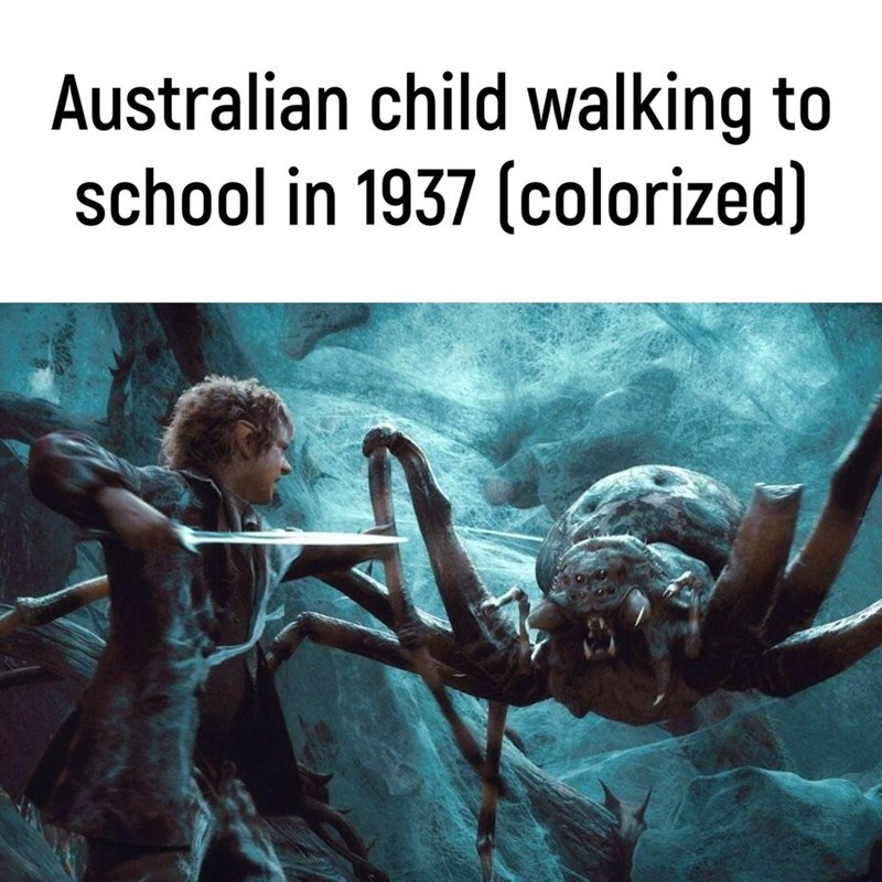 Text - Australian child walking to school in 1937 (colorized)