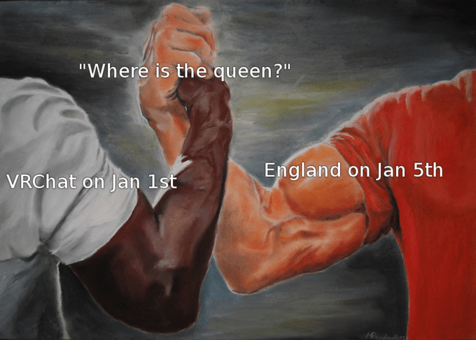 """queen elizabeth death meme - Painting - """"Where is the queen?"""" England on Jan 5th VRChat on Jan 1st"""