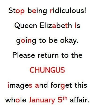 queen elizabeth death meme - Text - Stop being ridiculous! Queen Elizabeth is going to be okay. Please return to the CHUNGUS images and forget this whole January 5th affair.