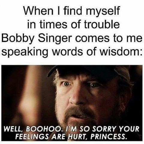"Caption that reads, ""When I find myself in times of trouble Bobby Singer comes to me, speaking words of wisdom..."" above a still of Bobby Singer saying, ""Well boohoo, I'm so sorry your feelings are hurt, princess"""
