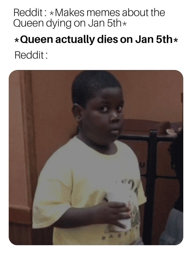 Text - Reddit: *Makes memes about the Queen dying on Jan 5th* Queen actually dies on Jan 5th* Reddit: