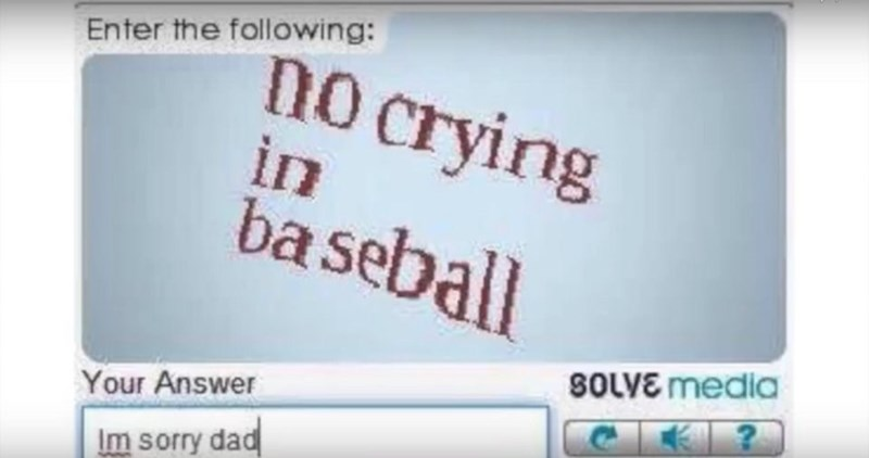 Text - no crying in ba seb Enter the following: all SOLVE media Your Answer Im sorry dad