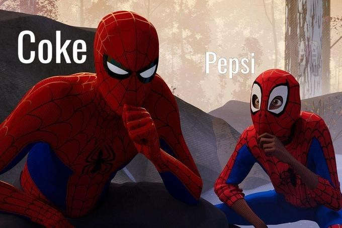 Pic of Miles Morales, who represents 'Pepsi' staring at Spiderman, who represents 'Coke'