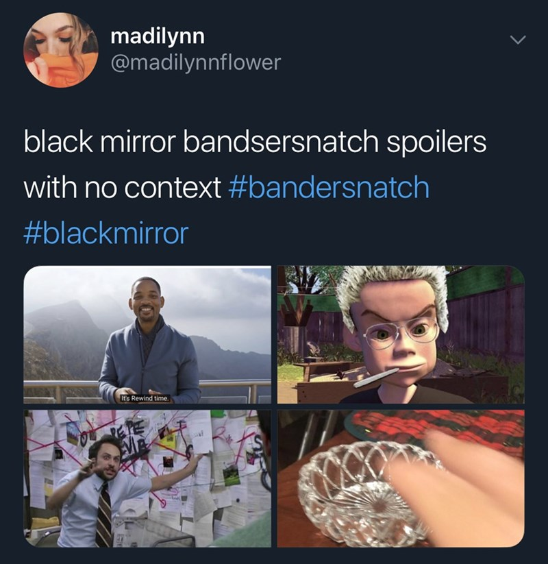 Adaptation - madilynn @madilynnflower black mirror bandsersnatch spoilers with no context #bandersnatch #blackmirror It's Rewind time.
