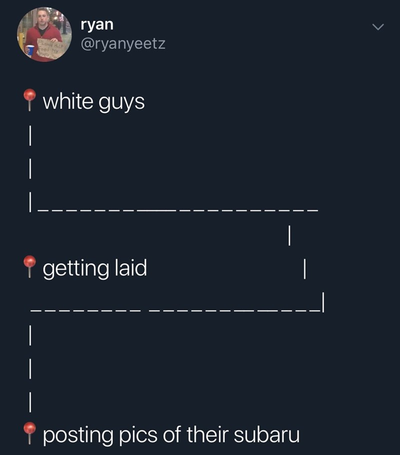 Text - ryan @ryanyeetz PLoae APABY white guys getting laid - _ posting pics of their subaru
