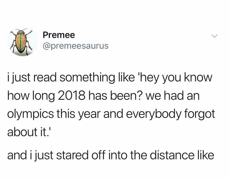 Text - Premee @premeesaurus i just read something like 'hey you know how long 2018 has been? we had an olympics this year and everybody forgot about it. and i just stared off into the distance like