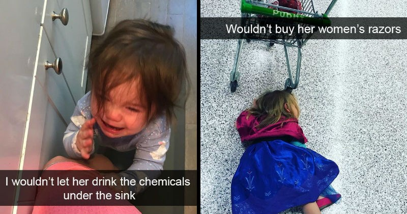 Pictures of kids throwing tantrums for illogical and dumb reasons.