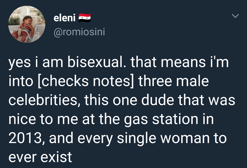Text - eleni @romiosini yes i am bisexual. that means i'm into [checks notes] three male celebrities, this one dude that was nice to me at the gas station in 2013, and every single woman to ever exist