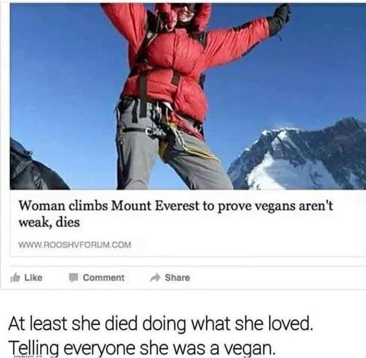 Meme about vegans liking to tell people they're vegan with headline about a vegan who died climbing the Everest