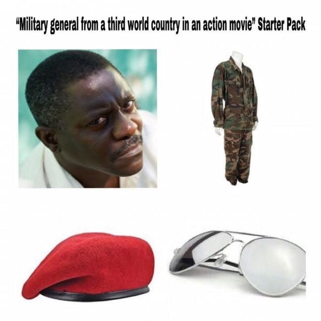 evil military man in movies starter pack with black guy, camo uniform and red beret
