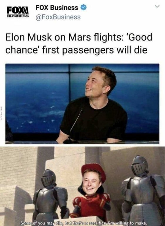 Meme about Elon Musk sacrificing first Mars visitors with pic of Lord Farquaad from Shrek