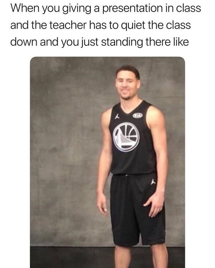 Meme about presenting in class with pic of basketball player standing awkwardly