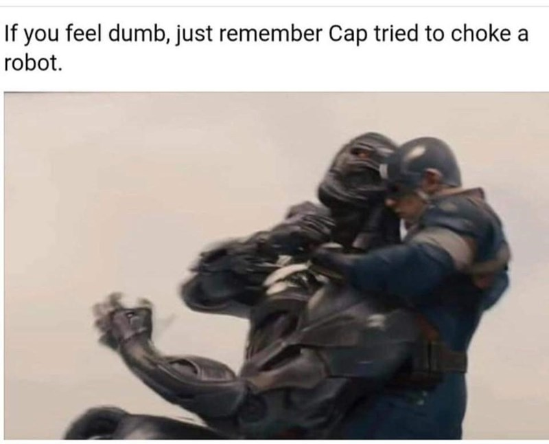 Meme about Captain America trying to kill Ultron the robot by choking him