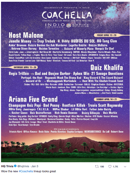 Text - GOLDENOICE PRSSENTS IN INDIO COACHELLA COACHELLA VALLEY WUSIC ANO ARTS. FESTIVAL INDIO EMPIRE CALIE ORNIA.. Host Malone Janelle Money the Trap Trebek 0. Diddy HOUFUS DU SOL HO-Tang Clan FRIDAY APRIL 12 19 Askin' Bronson Duizzie Borden the Ask Murderer Lagatha Quiztie Quizzie McGuire Hebrew Steve Harvey Ouizton Tarantino Quizard of Waverly Place Raequiz Da Chef Chris Lake Jauz- Interrupters Hot Since 82. Charlotte Gainsbourg SOPHIE-Nicole Moudaber- Tierra Whack-Pole Pan Beach Fossils Yello