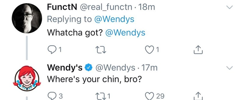 Text - FunctN @real_functn 18m Replying to @Wendys Whatcha got? @Wendys Wendy's Where's your chin, bro? @Wendys 17m .1 3 29