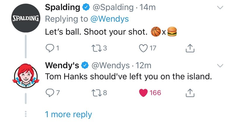 Text - Spalding SPALDING Replying to @Wendys @Spalding 14m Let's ball. Shoot your shot. X 11.3 17 Wendy's Tom Hanks should've left you on the island. @Wendys 12m t1.8 166 7 1 more reply >